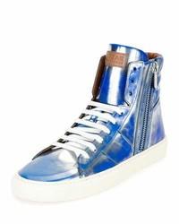 Zapatillas altas de cuero azules de Bally