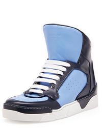 Zapatillas altas de cuero celestes de Givenchy