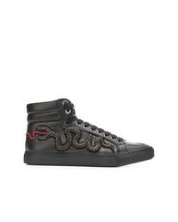 Zapatillas altas de cuero con print de serpiente negras de RH45