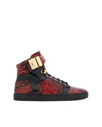 Zapatillas altas de cuero con print de serpiente rojas de Giuliano Galiano