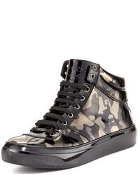 Zapatillas altas de cuero de camuflaje negras de Jimmy Choo