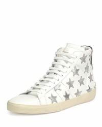 Zapatillas altas de cuero de estrellas blancas de Saint Laurent