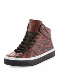 Zapatillas altas de cuero de leopardo burdeos de Jimmy Choo