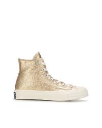 Zapatillas altas de cuero doradas de Converse