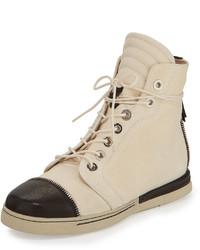 Zapatillas altas de cuero en beige