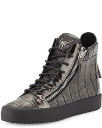 Zapatillas altas de cuero en gris oscuro de Giuseppe Zanotti