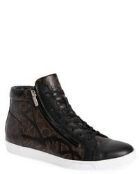 Zapatillas altas de cuero en marrón oscuro de Calvin Klein