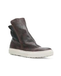 Zapatillas altas de cuero en marrón oscuro de Fiorentini+Baker