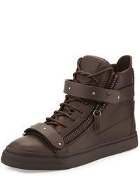 Zapatillas altas de cuero en marrón oscuro de Giuseppe Zanotti