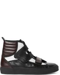 Zapatillas altas de cuero en marrón oscuro de Raf Simons