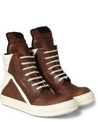 Zapatillas altas de cuero en marrón oscuro de Rick Owens