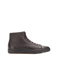 Zapatillas altas de cuero en marrón oscuro de Santoni