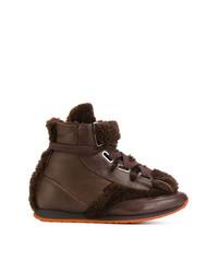Zapatillas altas de cuero en marrón oscuro de Vivienne Westwood MAN