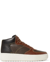 Zapatillas altas de cuero en marrón oscuro