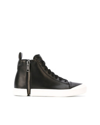 Zapatillas altas de cuero en negro y blanco de Diesel