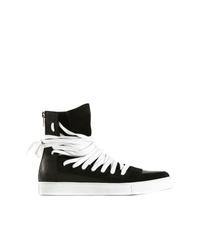 Zapatillas altas de cuero en negro y blanco de Kris Van Assche