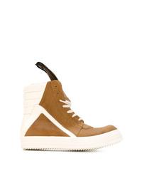 Zapatillas altas de cuero en tabaco de Rick Owens