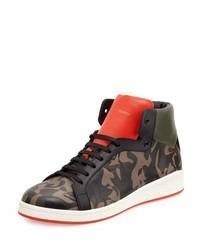 Zapatillas altas de cuero estampadas marrónes de Alexander McQueen