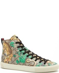 Zapatillas altas de cuero marrón claro de Gucci