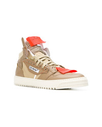 Zapatillas altas de cuero marrón claro de Off-White