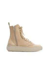 Zapatillas altas de cuero marrón claro de Represent