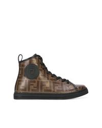 Zapatillas altas de cuero marrónes de Fendi