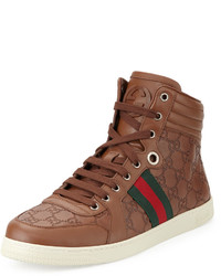 Zapatillas altas de cuero marrónes de Gucci