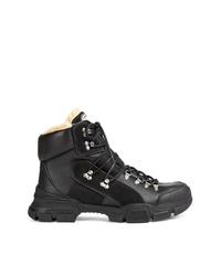 Zapatillas altas de cuero negras de Gucci
