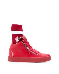Zapatillas altas de cuero rojas de Giuseppe Zanotti Design