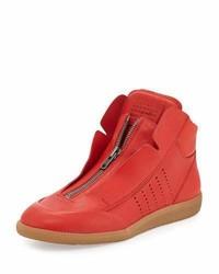 Zapatillas altas de cuero rojas de Maison Margiela