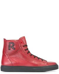 Zapatillas altas de cuero rojas de Raf Simons