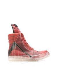 Zapatillas altas de cuero rojas de Rick Owens