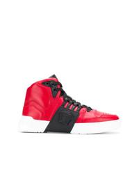 Zapatillas altas de cuero rojas de Versace