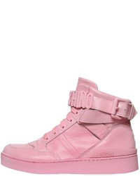 Zapatillas altas de cuero rosadas de Moschino
