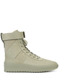 Zapatillas altas de cuero verde oliva de Fear Of God