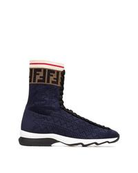 Zapatillas altas de lona azul marino de Fendi