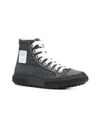 Zapatillas altas de lona azul marino de Prada