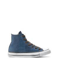 Zapatillas altas de lona azules de Converse