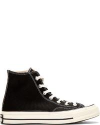 Zapatillas altas de lona en negro y blanco
