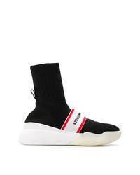 Zapatillas altas de lona en negro y blanco de Stella McCartney