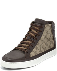 Zapatillas altas de lona marrónes de Gucci