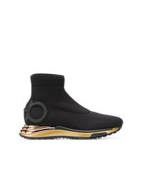 Zapatillas altas de lona negras de Salvatore Ferragamo