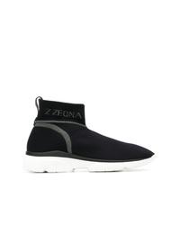 Zapatillas altas de lona negras de Z Zegna