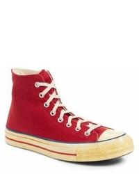 Zapatillas altas de lona rojas