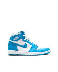 Zapatillas altas en blanco y azul de Jordan