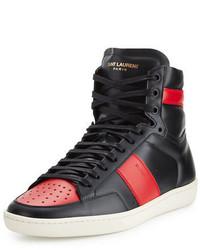 Zapatillas altas en rojo y negro de Saint Laurent