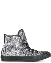 Zapatillas altas plateadas de Converse
