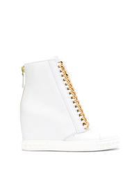 Zapatillas con cuña de cuero blancas de Casadei