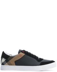 Zapatillas de cuero a cuadros negras de Burberry