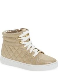 Zapatillas de cuero acolchadas doradas de MICHAEL Michael Kors